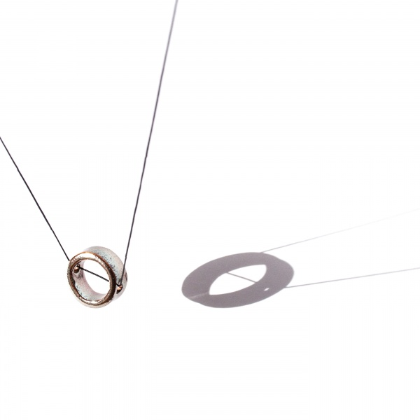 minimalist ceramic geometric necklace silver reflection clayometry