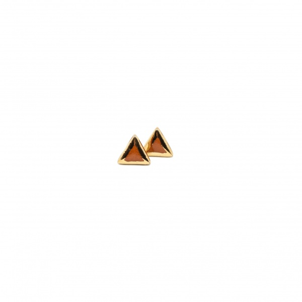 triangle earrings with gold edges peaks medium glossy clayometry