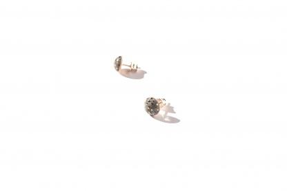 earrings with golden dots shiny terrazzo clayometry