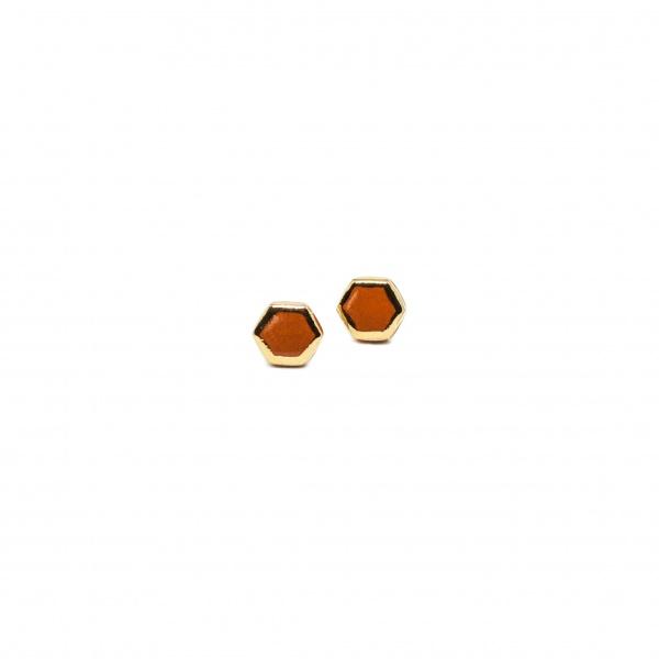 hexagon earrings with golden lines six medium clayometry