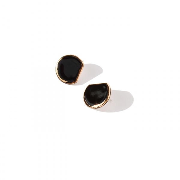 glossy earrings with gold edging glossy golden d large clayometry
