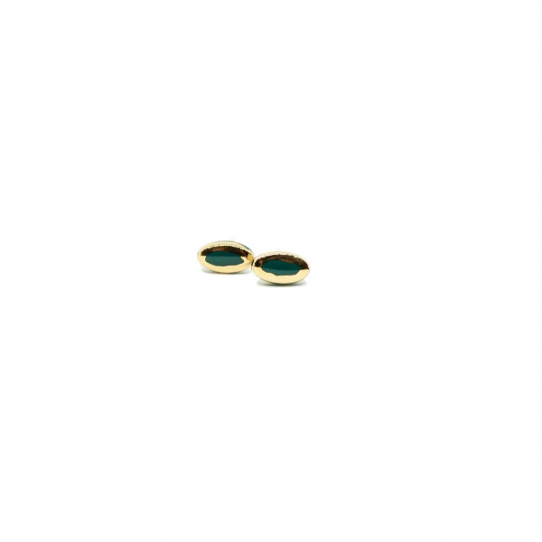 tiny oval earrings with gold sunrise glossy clayometry