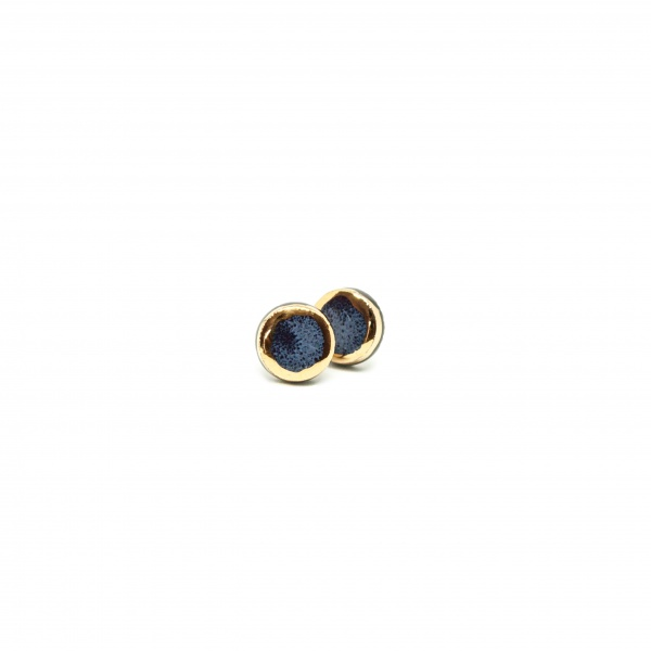 ceramic earrings with gold golden aureole glossy clayometry