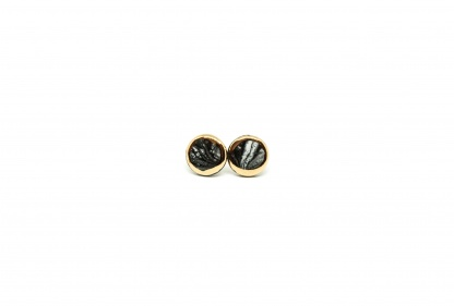 marble earrings with gold marble b&w clayometry
