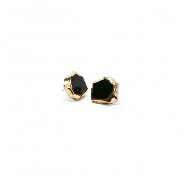 one-of-a-kind earrings with gold smithereens large clayometry