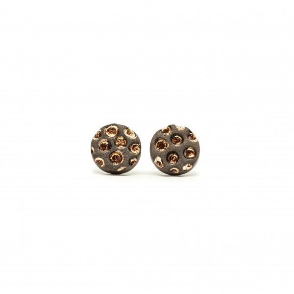 round studs with gold luster starry night clayometry