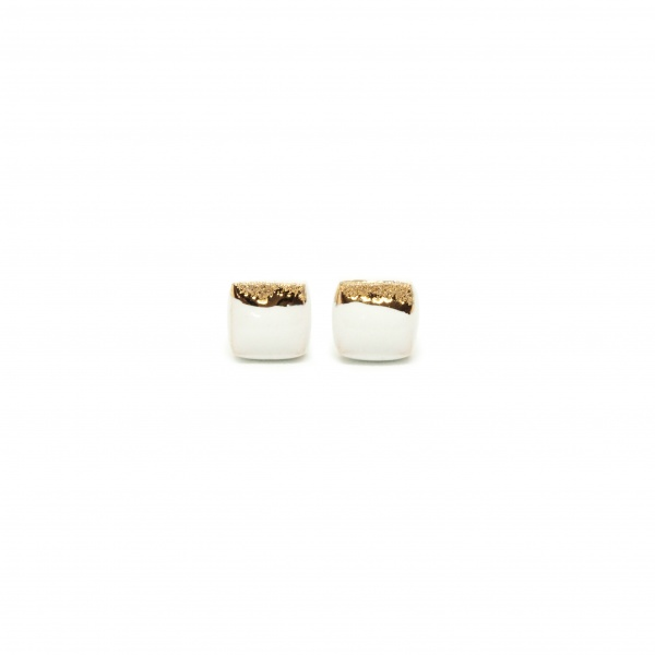 square ceramic earrings with gold square coast clayometry