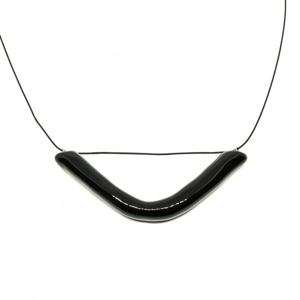 minimalist long ceramic necklace smile clayometry