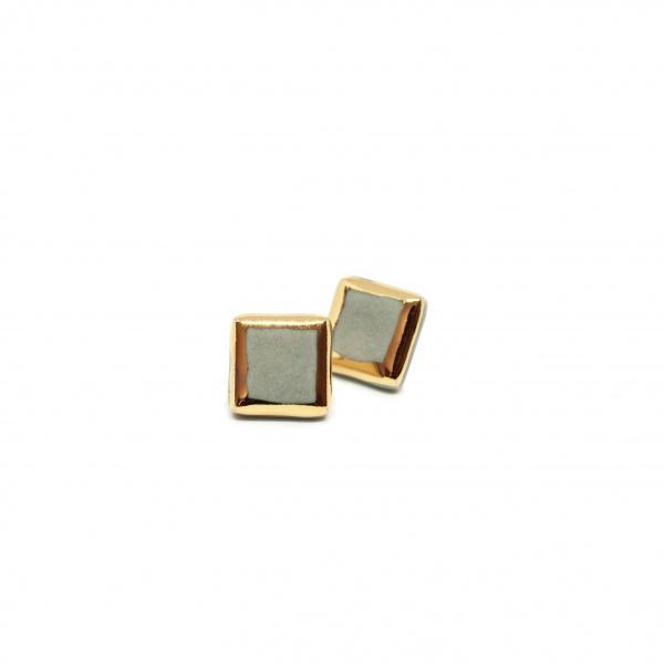 handmade minimal square earrings glossy boxes medium clayometry