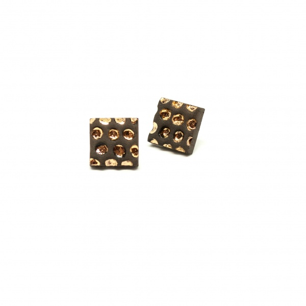 square stud earrings with gold starry night boxes